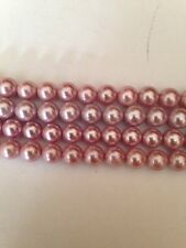 """15-16"""" Pink Top Quality 6mm Round Glass Pearls Beads L@@K SALE"""