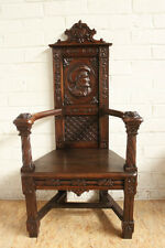 1112001 : Antique French Carved Renaissance Hunt Carved Arm Chair