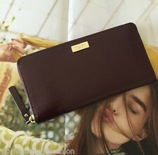 Kate Spade Wine Patent Leather Bixby Place Neda Zip Around Continental Wallet