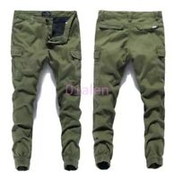Autumn Mens Baggy Relaxed Skinny Casual Cargo Overalls Mid-rised Pants Trousers