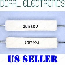 2x 10W 1 Ohm 1R 5% Ceramic Cement Power Resistor NEW 1Ohm 10 W 10WATT WATT