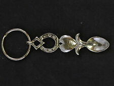 Pewter Welsh Lovespoon Keyring - Horse Shoe & Heart. Cast in England.