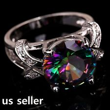 Large Rainbow & White Topaz Gems Solitaire with Accents Lady's Ring Size 7