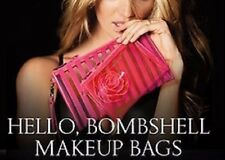 Victoria's Secret 3D Floral & Stripes Hello Bombshell Duo Wristlet Makeup Bags