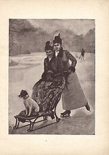 VICTORIAN LADIES JACK RUSSELL TERRIER DOG ICE SKATING EARLY SLED ANTIQUE PRINT