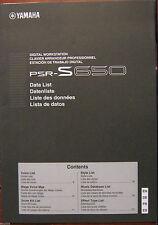 Yamaha PSR-S650 Digital Keyboard Original Data List Supplemental Manual Booklet