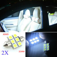 2X 31mm 12V Car Auto Interior Festoon 6SMD 5050 LED White Map Reading Light Bulb