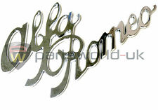 Alfa Romeo Chrome Effect Vintage Script Badge Logo Emblem Sticker Decal GENUINE