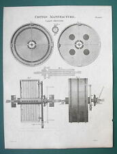 CALICO PRINTING Machinery Cotton Manufacture - 1820 ABRAHAM REES Antique Print