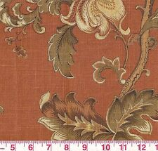 Fabricut Fresno Persimmon Bronze Gold Floral Print Upholstery Fabric BTY