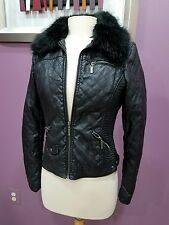 FOREVER 21 QUILTED FAUX FUR LEATHER JACKET MOTORCYCLE ZIPPERED STRETCH MINT Sz S