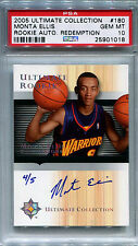 2005-06 Ultimate MONTA ELLIS Auto RC Rare Redemption Platinum Foil SP #/5 PSA 10