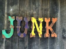 "Large 3D Metal ""JUNK"" Sign Vintage Inspired Colors - Fun Wall Art- Retro"