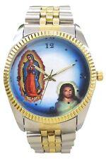 Virgin Mary & Jesus Men's Watch by Impress/Gold Tone Bezel/2-Tone Bracelet