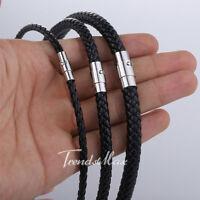 Herren Damen Kette Schwarz-Schnur-Seil-Künstliche lederne Halskette Halsband NEU
