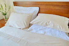 King Bed Fitted Sheet 1000TC/10cm2 Pure Cotton Plain Ivory