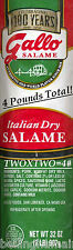 Gallo Italian Dry Salame Salami Chubs FOUR POUNDS! The #1 Selling Fast Free Ship