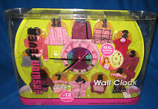 BARBIE FASHION FEVER WALL CLOCK WITH 12 FASHIONS NEW