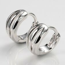 Unique 18k White Gold Filled Charm Earrings Mini 13mm Hoops Newest Jewelry