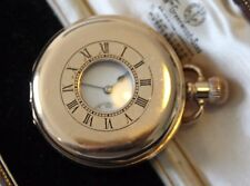 ANTIQUE 10CT GOLD PLATED DENNISON MOON CASE HALF HUNTER POCKET WATCH.