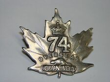 Canada WW1 CEF Cap Badge OFFICER's 74th Battalion, Sterling silver