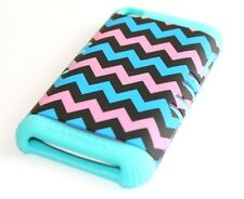 iPod Touch 4th Gen - HARD & SOFT RUBBER HYBRID ARMOR CASE MINT BLUE PINK CHEVRON