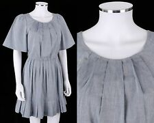 3.1 PHILLIP LIM LIGHT BLUE COTTON CHAMBRAY SHORT SLEEVE DRESS SIZE S