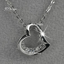 18K WHITE GOLD GF SWAROVSKI CRYSTAL LOVE HEART PENDANT NECKLACE SMALL CUTE