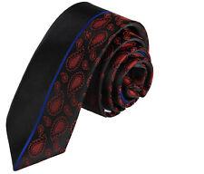 Nouveau design italien slim noir & rouge foncé motif cachemire cravate en soie