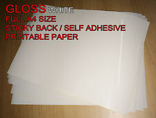 50 x A4 White/Cream [Gloss] Self Adhesive Sticker Paper Sheet Address Label