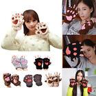 2016 New Fashion Winter Women Paw Gloves Fingerless Fluffy Bear Cat Plush Paw