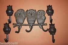5)PCS,HEAR NO EVIL SPEAK NO EVIL SEE NO EVIL OWL CAST IRON WALL HOOKS, H-13,H-43