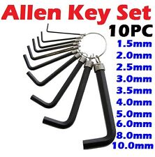 10PC Metric Hex Hexagon Allen Alan Key Wrench Set 1.5mm - 10mm With Keyring- New