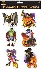 6 Halloween Glitter Tattoos Bat Pumpkin Witch Vampire Frankenstein 5-9Cm Tattoos