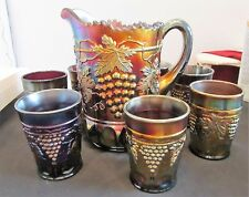 Antique Northwood Carnival Glass Amethyst Pitcher 7 Tumblers Exc Condition