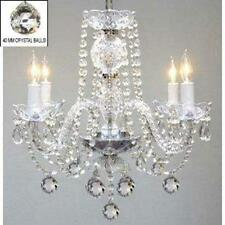 Swag Plug In Authentic All Crystal Chandelier Lighting H17 x W17 NEW