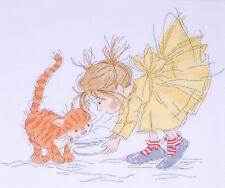 Cross Stitch Kit ~  Design Works Little Girl and Kitten Kitty Dinner #DW2722
