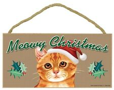 "MEOWY CHRISTMAS-Orange Tabby Cat Decorative Wood Plaque, Sign 5"" x 10"""