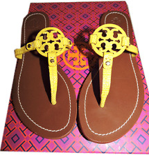 $195+ Tory Burch Mini Miller Yellow Leather Logo Thongs Sandal Flat Shoe 6.5