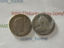 C*H Lot of 2 circulated 3 pence 1884 1901 Great Britain silver coins set #Ugb1