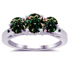 3.12 ct si1/BROWN GREEN REAL MOISSANITE & NATURAL BLACK DIAMOND.925 SILVER RING