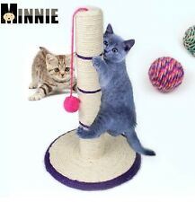 "New Pet Cat Scratcher Tree Toy With Mouse And Ball Natural Sisal Rope 18""Tall"