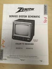Zenith Service Manual Schematic for the SD0921A SD0921S TV Receiver     mp
