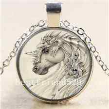 Faerie Dragon and Horse Cabochon Glass Tibet Silver Chain Pendant  Necklace#70I