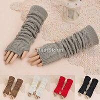 Womens Long Finger Less Gloves NEW Arm Warmers Sleeves Black Grey