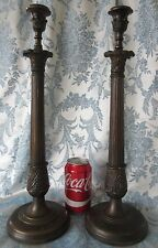 "Vintage Bronze Candle Stick Holders Large 17"" Tall Pair Empire Style"