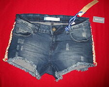 Wet Seal Instant Vintage Shorts Jeans 11 Jr. Rainbow Trimmed $13.-NWT Free/Ship
