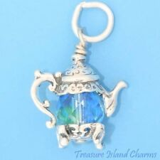 TEA POT TEAPOT W/ BLUE AQUAMARINE SWAROVSKI CRYSTAL 3D 925 Sterling Silver Charm