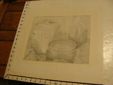 JAN STEELE, drawing: pencil: STILL LIFE: POTTERY, TABLECLOTH