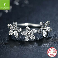 925 Sterling Silver Dazzling Daisy Stackable Ring With Clear CZ Fit Women Size 7